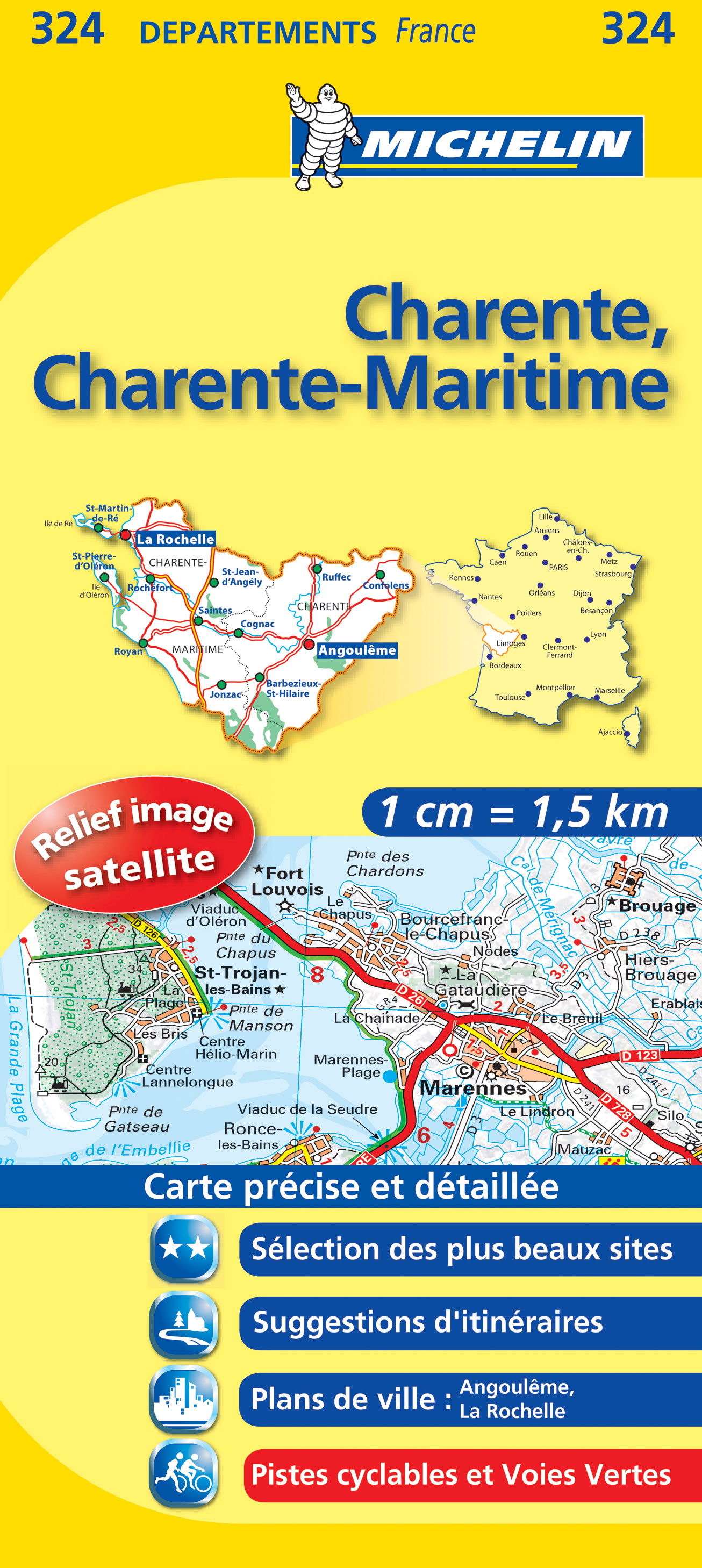 Charente, Charente-Maritime (Francie), mapa 1:150 000, MICHELIN