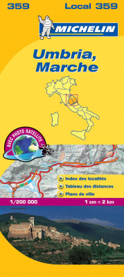 Umbria, Marche (Itálie), mapa 1:200 000, MICHELIN