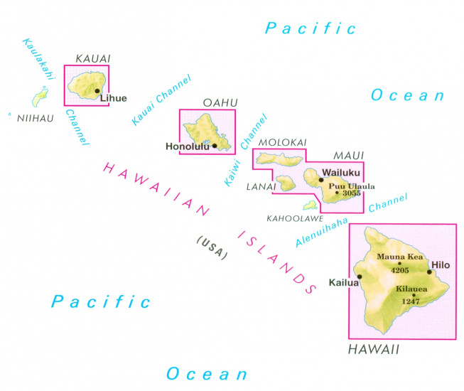 detail Havajské Ostrovy (Hawaiian Islands) 1:330t mapa Nelles