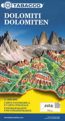 Dolomity - Dolomites Road & Panoramic Map 1:200t mapa TABACCO