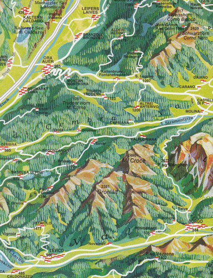 detail Dolomity - Dolomites Road & Panoramic Map 1:200t mapa TABACCO
