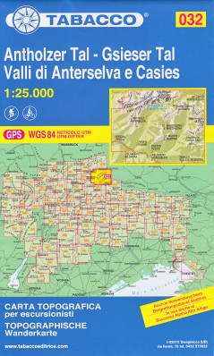 Antholzer Tal – Gsieser Tal, Valli di Anterselva 1:25 000 tur. mapa TABACCO #32