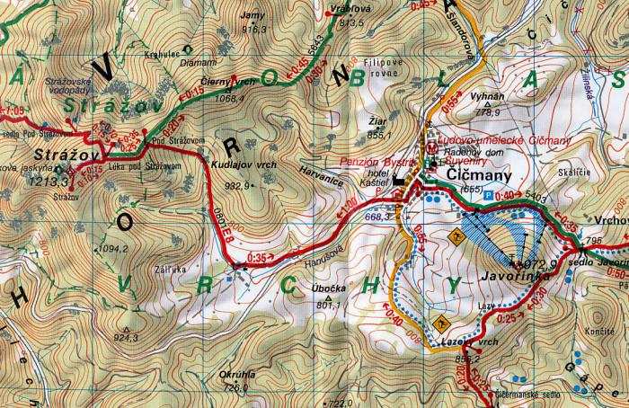 Strazovske Vrchy Trencianske Teplice 1 50 000 Turisticka Mapa